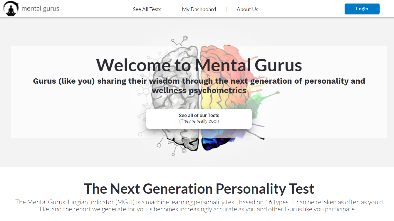 mental gurus home page screenshot